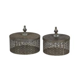 Rustic Pierced Metal Box with Lidded Finial Top, Set of 2, Gray