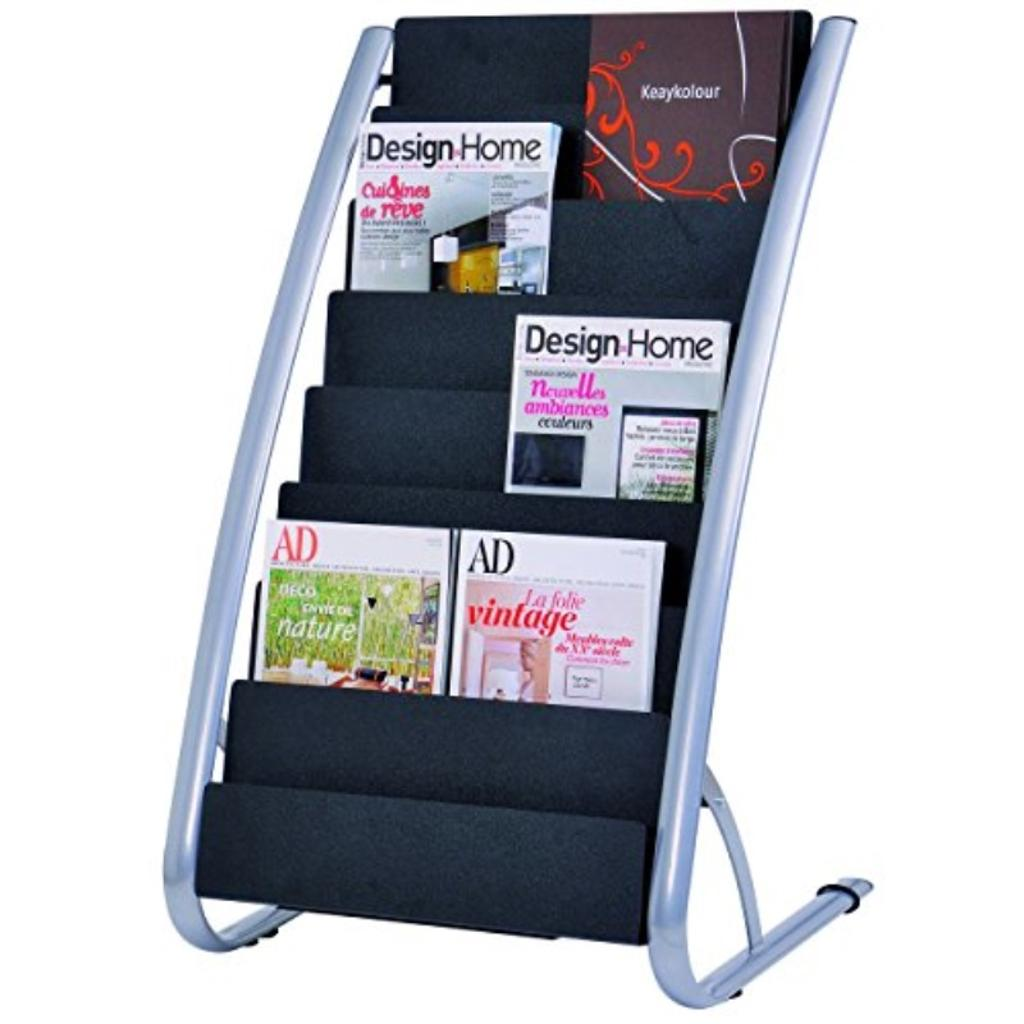 Alba 8 Compartment Literature Floor Display Rack, Black and Silver (DDEXPO8)