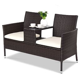 Outdoor Patio Rattan Cushioned Chat Set