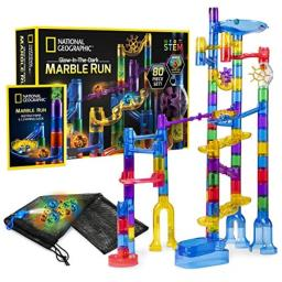NATIONAL GEOGRAPHIC Glowing Marble Run - 80 Piece Construction Set with 15 Glow-in-the-Dark Glass Marbles, Mesh Storage Bag and Marble Pouch, Great Creative STEM Toy for Girls and Boys, Multicolor