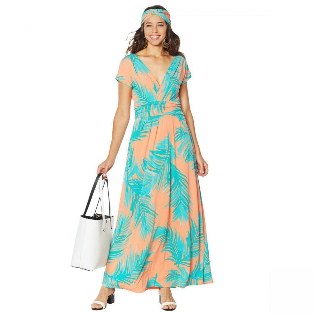 Details about  /Iman Boho Chic Petite Orange Palm Maxi Dress /& Head Wrap New