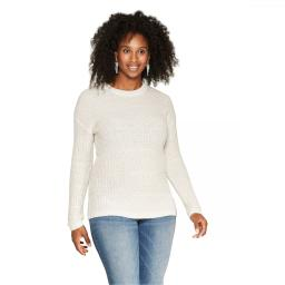 Isabel Maternity by Ingrid & Isabel Women's Maternity Shine Pullover Sweater X-Large White / Silver