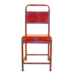 Metal Armless Dining Chair with Half Back Support and Straight Feet, Red, Set of Two