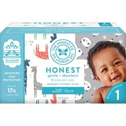 The Honest Company Club Box - Size 1 - Pandas & Safari Print with TrueAbsorb Technology Plant-Derived Materials Hypoallergenic 80 Count