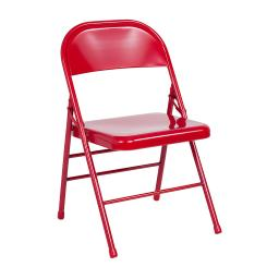 Offex Triple Braced & Double Hinged Red Metal Folding Chair