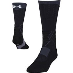 Under Armour Men's Drive Basketball Crew Socks, 1-Pair, black/White, Shoe Size 8-12, Womens 9-12