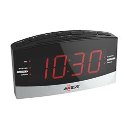 """Axess CKRD3802 AM/FM Digital Radio with Dual Alarm Settings, 1.8"""" Red LED Display, Aux Input Jack, Battery Backup for Power Interruption (Batteries not Included)"""