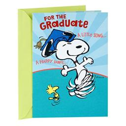 Hallmark Peanuts Pop Up Graduation Card (Snoopy and Woodstock Happy Dance)