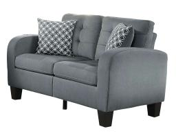 Contemporary Wood Love Seat With Tufted Upholstery, Sand Gray Finish
