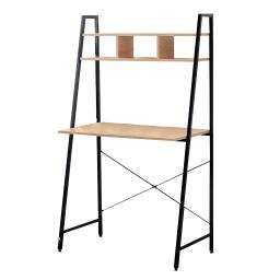 Offex Black Steel Frame Desk with Bookcase Above