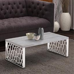 Armen Living Skyline Coffee Table with Grey Wood and Brushed Stainless Steel Finish