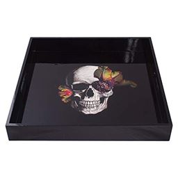 Large Serving Tray – Coffee Table Tray – Appetizer Serving Tray – Dinner Tray – Serving Trays for Parties & more – Black Serving Tray with Skull & Flower Design