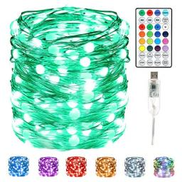 Fairy String LightsHeyrsun 33Ft 100 LEDs USB Fairy Lights16 Color Changing String Lights with Remote Waterproof Firefly Twinkle String Lights for BedroomIn/OutdoorChristmas Decor