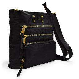 Adrienne Vittadini Triple Front Zip Crossbody with Adjustable Shoulder Strap (Black)