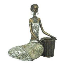 """African American Expressions - Sitting Lady Candle Holder Figurine (8.07"""" x 5.71"""" x 9.65"""") CHF-02"""