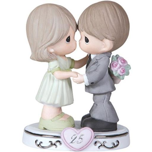Precious Moments, Through The Years - 25th Anniversary, Bisque Porcelain Figurine, 123020 Twenty-five years of marriage have passed, and this happily married couple still loves to share a dance - and he is even going to surprise her with a bouquet of flowers!*An endearing way to honor a silver anniversary; inspiring the recollections of the happiest moments of their 25 years together*Give this anniversary present to a spouse or a couple celebrating their 25th anniversary*Bisque porcelain, meticulously hand painted*Approximately 5.5 inches high