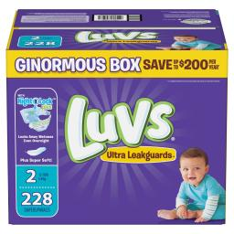 Luvs Ultra Leakguards Disposable Diapers Size 2, 228 Count, ONE MONTH SUPPLY