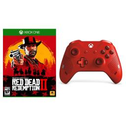 Red Dead Redemption 2 and Microsoft Xbox One Sport Red Wireless Controller