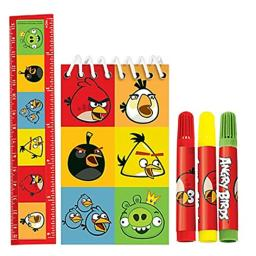 Angry Birds Kids 5pc Stationery Set - Includes Notepad, Ruler & Markers!