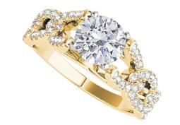 Criss Cross Engagement Ring with Round Cubic Zirconia