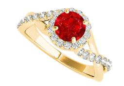 Criss Cross Design Ruby and CZ Ring in 14K Yellow Gold