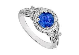 Created Sapphire and Cubic Zirconia Halo Engagement Rings in 14K White Gold 0.80.ct.tgw