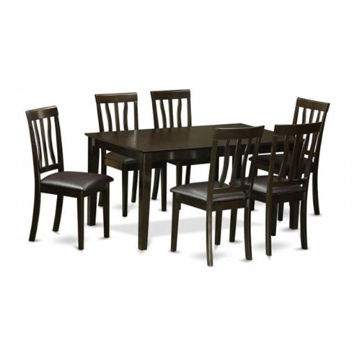 East West Furniture CAAN7-CAP-LC 7 Piece Dining Table Set For 6-Dining Room Table and 6 Dining Chairs