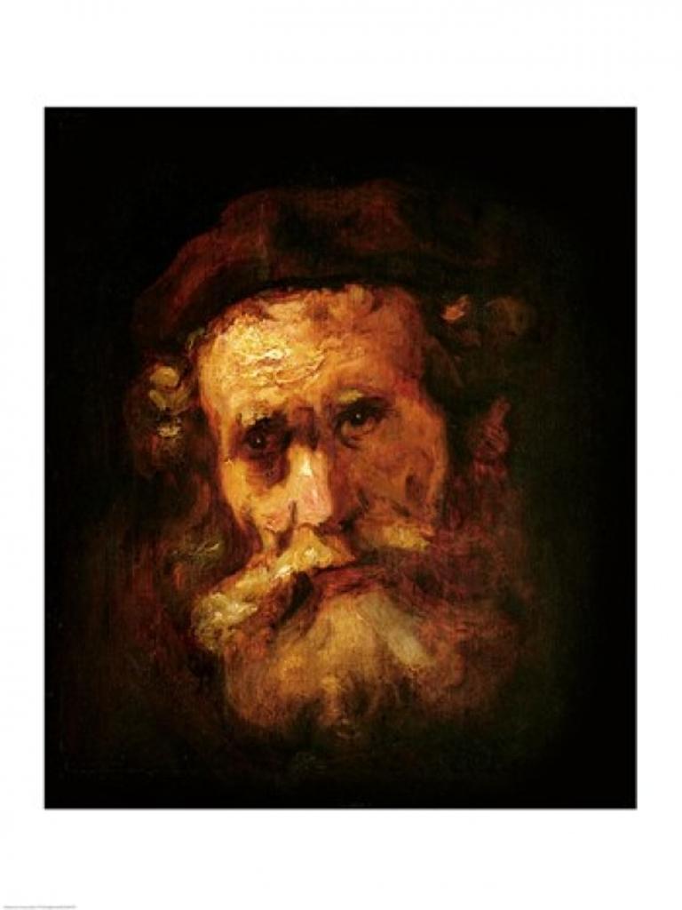 A Rabbi Poster Print by Rembrandt van Rijn