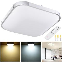 """YesHom 36W 15"""" Modern Dimmable LED Ceiling Light Square Aluminum Flush Mount Remote Control Bedroom Living Room"""