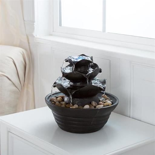 Indoor Water Fountain with LED Lights of Three Tier Soothing Cascading Tabletop Fountain with Rocks