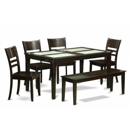 East West Furniture CALY6G-CAP-W 6 Piece Dining Table With Bench Set-4 Glass Top Insert Table and 4 Chairs For Dining Room