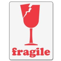 Ace Label 98580F 3 in. x 4 in. Fragile Glass Label