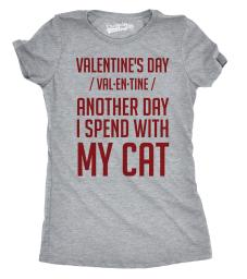 Womens Valentines Day Spent With My Cat Funny Cat Lady Valentine T shirt