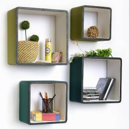 Emerald DreamSquare Leather Wall Shelf / Bookshelf / Floating Shelf (Set of 4)