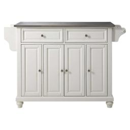 Crosley Cambridge Stainless Steel Top Kitchen Island in White Finish