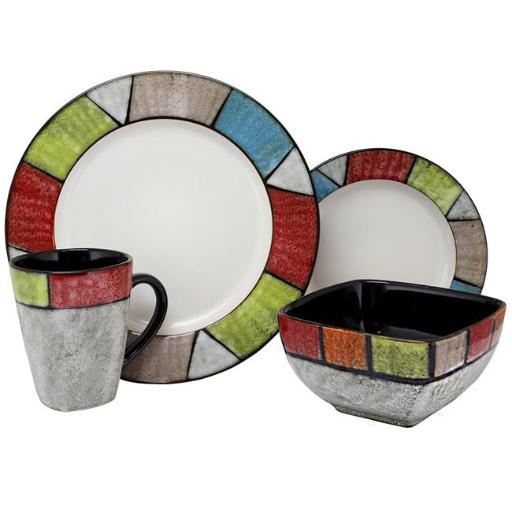 Elama ELM-COUNTRY-COTTAGE Country Cottage16 Piece Stoneware Dinnerware Set