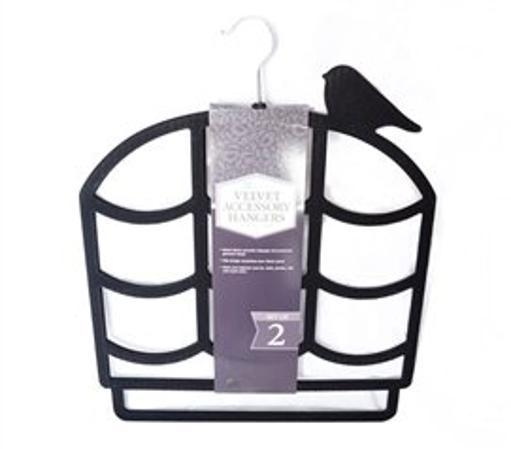 Bird on a Cage Hangers - Scarf, Belt & Accessory Hangers - Black (2 Pack) Keep your scarves, hand towels, and other accessories organized with our Black Birdcage Design 2 Pack Flocked Scarf Hanger!