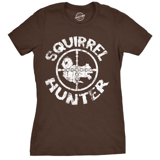Womens Squirrel Hunter Tshirt Funny Hunting Outdoors Tee For Ladies