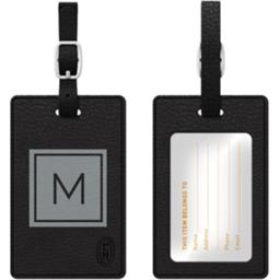 Centon Electronics 67845 Otm Monogram Black Leather Bag Tag, Inversed Graphite M