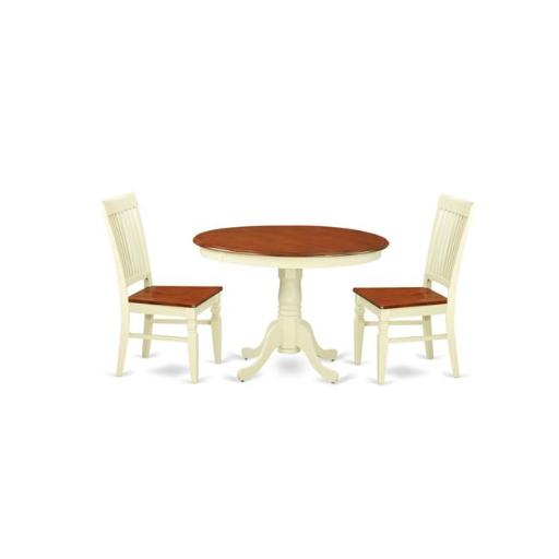 East West Furniture HLWE3-BMK-W Kitchen Table Set with a Kitchen Table & 2 Wood Seat Dining Chairs, 3 piece - Buttermilk & Cherry