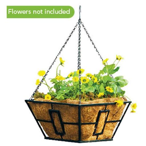 Panacea 87850 Black Square Contemporary Style Hanging Basket