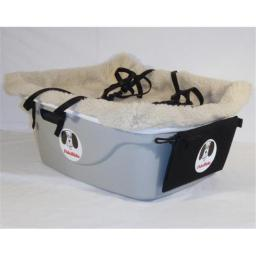 FidoRido Products FRG2BG-SM Gray Two-Seater with Beige Fleece and A Small Harness and A Medium Harness