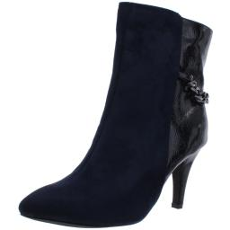 Bellini Womens Chain Faux Suede Heels Ankle Boots