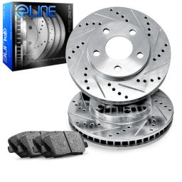 Front eLine Drilled Slotted Brake Rotors & Ceramic Brake Pads FEC.75010.02
