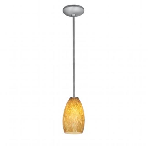 Accesslighting 28012-3R-BS-OPL Champagne A-19 LED Rod Opal Glass Pendant, Brushed Steel