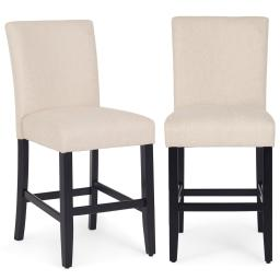 """Belleze 24"""" Dining Chairs Fabric Kitchen Parsons Urban Style Counter Height Chair With Solid Wood Legs Set of 2 Beige"""