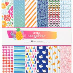 """American Crafts Single-Sided Paper Pad 12""""X12"""" 48/Pkg-Amy Tan On A Whim"""