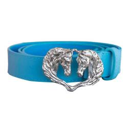 WOW WB90224 24 in. Ladies Belt Double Horse Head Buckle for Female, Light Blue