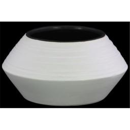 Urban Trends Collection 45729 Large Ceramic Round Vase with Flared Belly, White