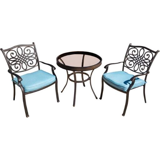 Hanover TRADDN3PCG-BLU Traditions Bistro Set with Glass table - 3 Piece, Blue